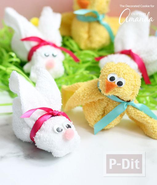 รูป 2 พับผ้าขนหนู ลายกระต่าย เป็ด น่ารักๆ