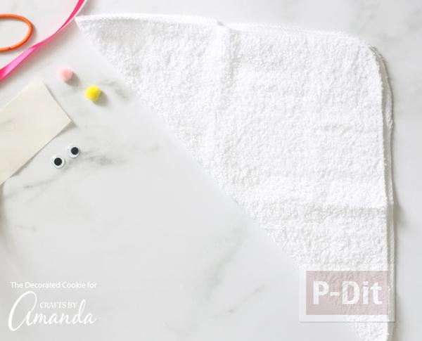 รูป 4 พับผ้าขนหนู ลายกระต่าย เป็ด น่ารักๆ