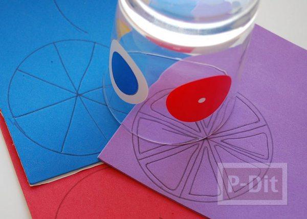 รูป 3 จานรองแก้ว ทำจากเชือก พ่นสีลายกลีบส้ม
