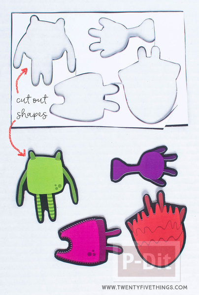 รูป 4 ตัดกระดาษรูป Moster ประดับกล่อง