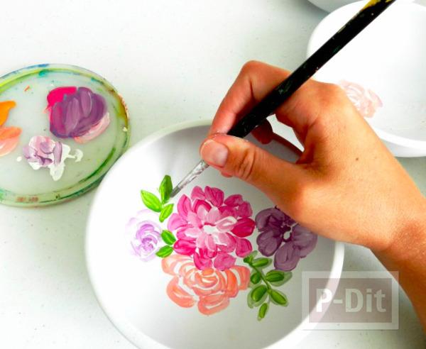 รูป 3 จานใส่ของ ระบายสีลายดอกไม้ แสนสวย