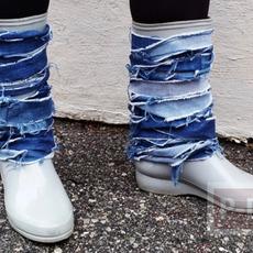 รองเท้าบูทยางแบบธรรมดา ตกแต่งใหม่ ประดับผ้ายีนส์