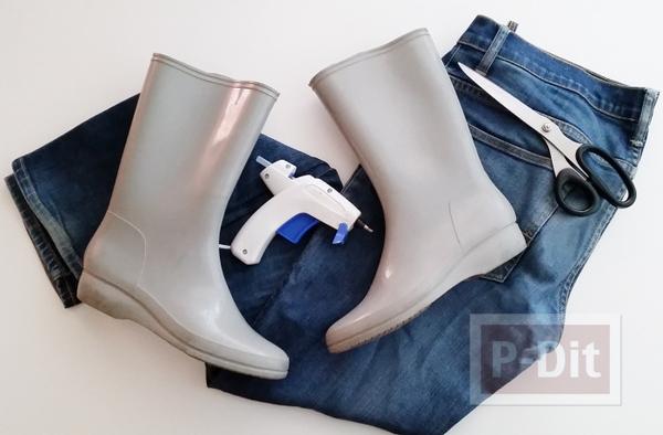รูป 3 รองเท้าบูทยางแบบธรรมดา ตกแต่งใหม่ ประดับผ้ายีนส์