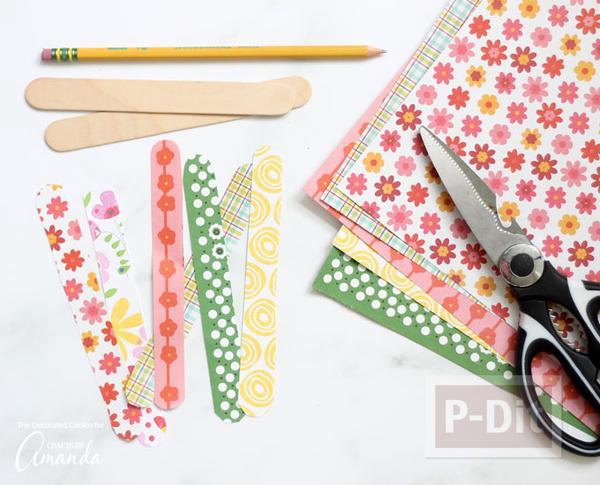 รูป 4 กำไลข้อมือ ทำจากไม้ไอติม ตกแต่งผ้า ลายสวย