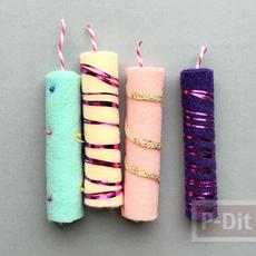 เทียนไข ประดับตกแต่ง ทำเอง จากผ้าสีสด