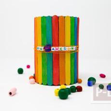 ตกแต่งกล่องใส่ดินสอ จากไม้ไอติมย้อมสี