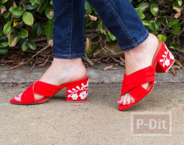 ตกแต่งรองเท้าส้นสูง ติดลายดอกสีขาวน่ารัก