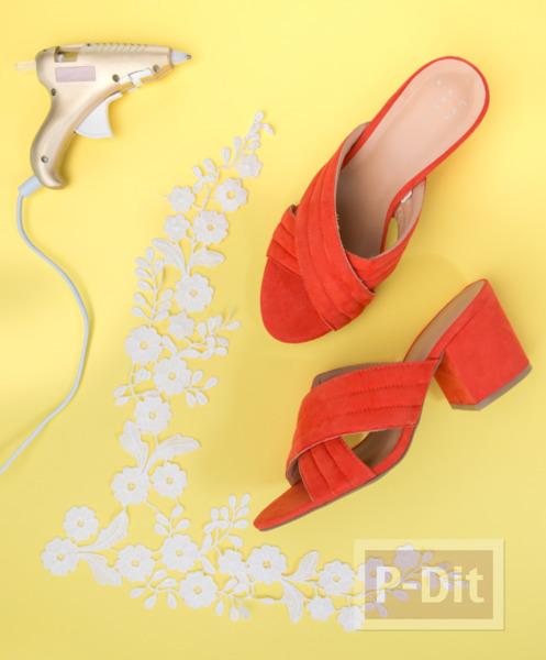 รูป 2 ตกแต่งรองเท้าส้นสูง ติดลายดอกสีขาวน่ารัก