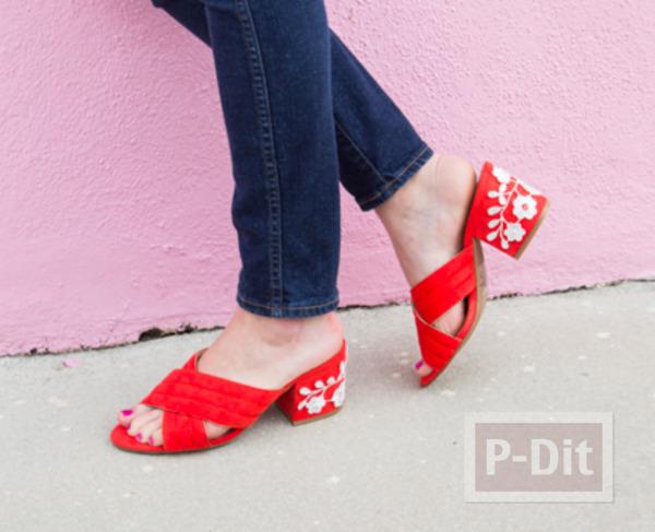 รูป 5 ตกแต่งรองเท้าส้นสูง ติดลายดอกสีขาวน่ารัก