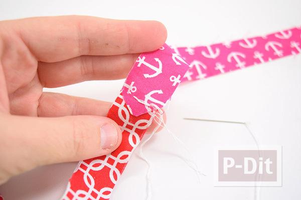 รูป 3 ทำเชือก จากเศษผ้า สีสด