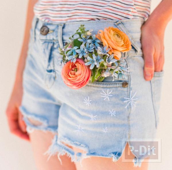 กางเกงยีนส์สวยๆ ปักลายดาวกระจาย เล็กๆ