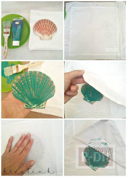 รูป 4 ผ้าปูโต๊ะลายเปลือกหอย ทำเอง แบบง่ายๆ