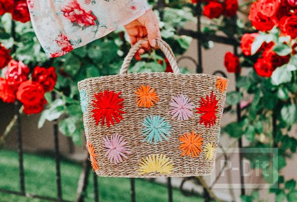 กระเป๋าถือ ปักลายดอก จากเชือกสีสวย
