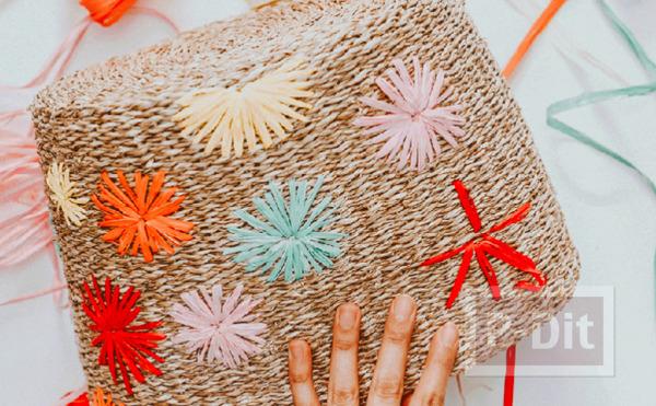 รูป 6 กระเป๋าถือ ปักลายดอก จากเชือกสีสวย