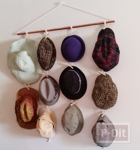 ร้อยเชือก ทำที่แขวนหมวก แบบง่ายๆ