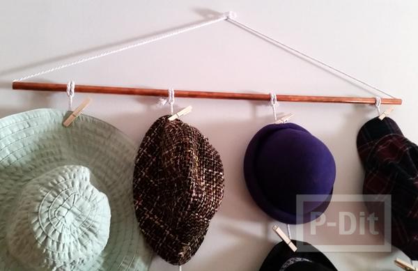รูป 6 ร้อยเชือก ทำที่แขวนหมวก แบบง่ายๆ