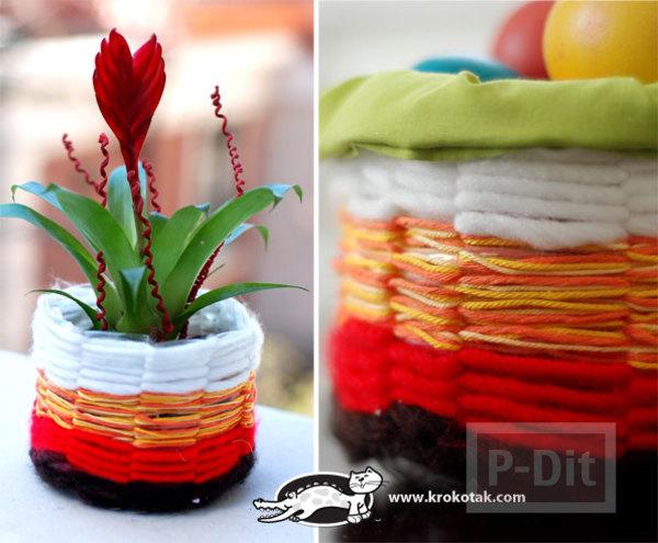 สอนทำที่ใส่ของ กระถางดอกไม้ จากขวดพลาสติก ถักไหมพรม