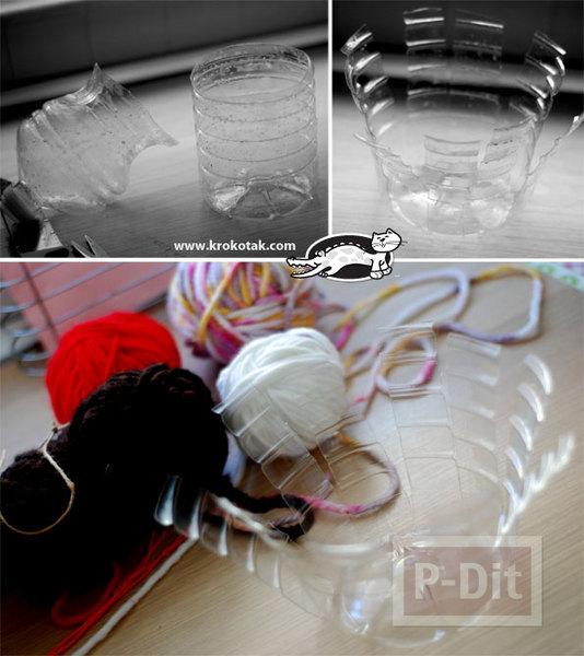 รูป 2 สอนทำที่ใส่ของ กระถางดอกไม้ จากขวดพลาสติก ถักไหมพรม