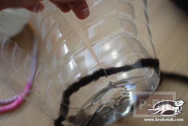 รูป 3 สอนทำที่ใส่ของ กระถางดอกไม้ จากขวดพลาสติก ถักไหมพรม