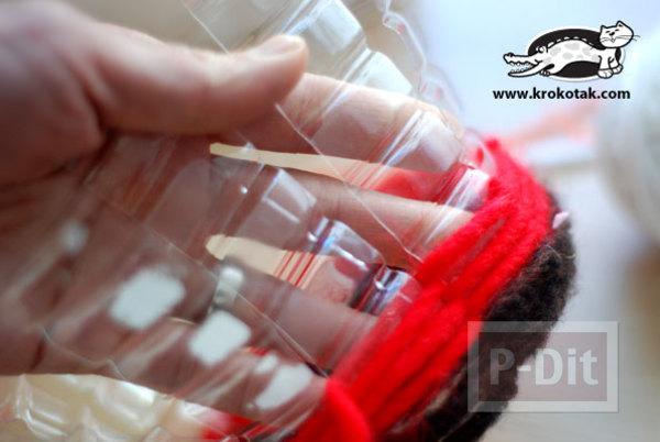 รูป 4 สอนทำที่ใส่ของ กระถางดอกไม้ จากขวดพลาสติก ถักไหมพรม
