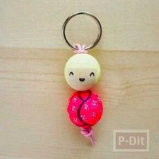 พวงกุญแจไม้ หัวกลม วาดตุ๊กตา
