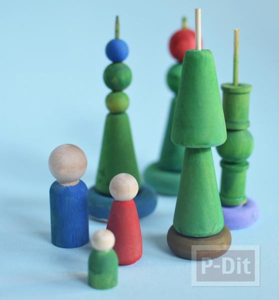 ตกแต่งวันคริสต์มาส วันปีใหม่ ทำจากไม้ ทาสี