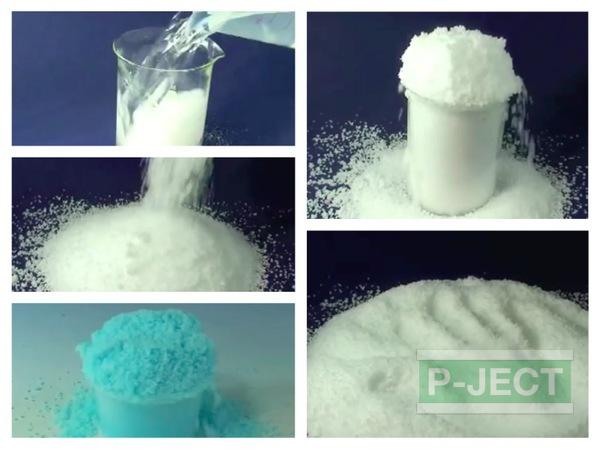 รูป 1 หิมะปลอม ทำจากโซเดียมโพลิอะคริเลต (sodium polyacrylate)