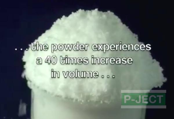 รูป 6 หิมะปลอม ทำจากโซเดียมโพลิอะคริเลต (sodium polyacrylate)
