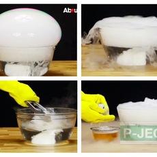 ทำลูกโป่งฟองใหญ่ๆ จากน้ำแข็งแห้ง (บอลน้ำแข็ง)