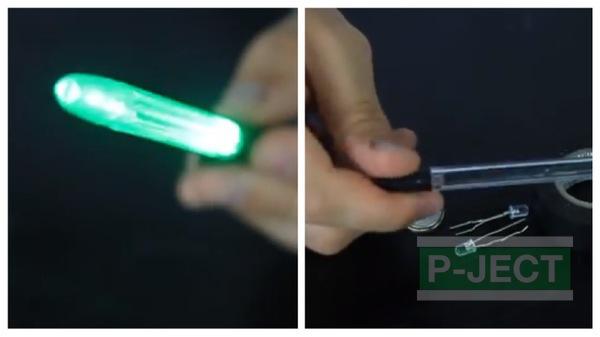 ดาบไฟ ทำจากปากกา และหลอดไฟเล็กๆ