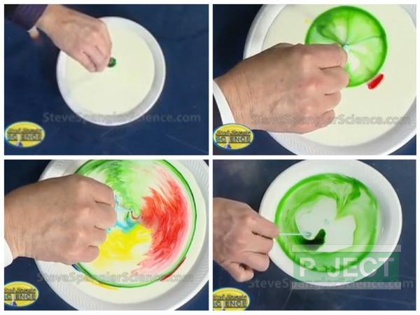 ทำการทดลองวิทยาศาสตร์ นมเปลี่ยนสี...