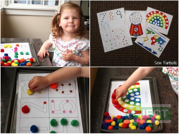 รูป 1 เกมส์สอบนับจำนวน จากปอมๆหลากสี