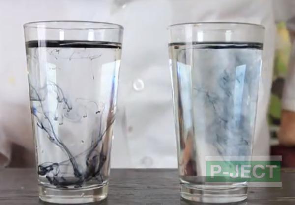รูป 1 สังเกตการเคลื่อนที่ของสี ในน้ำธรรมดา และน้ำร้อน