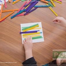 ทำเกมส์ให้เด็กเล่น วางไม้ไอติม ตามสี