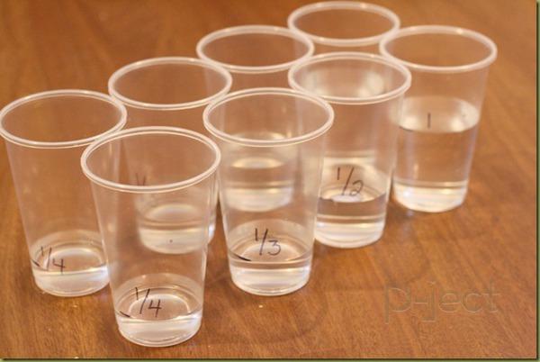 รูป 3 สอนเศษส่วน จากน้ำในแก้ว พลาสติก