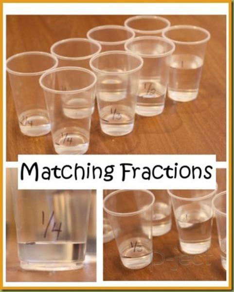 รูป 4 สอนเศษส่วน จากน้ำในแก้ว พลาสติก
