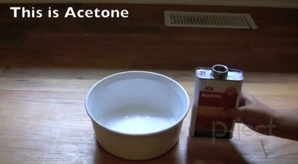 รูป 2 ละลายโฟมกับ Acetone (คลิปทดลอง)
