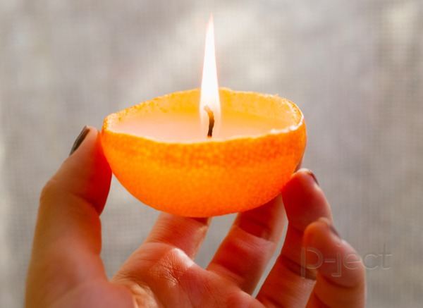 เทียนไข เปลือกส้ม
