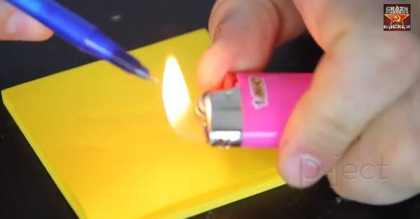 รูป 6 ปากกาลูกลื่นพัง ไฟแช็คช่วยได้