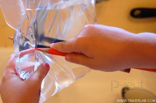 รูป 3 ทดลองสนุกๆ เจาะถุงน้ำ ด้วยดินสอสี