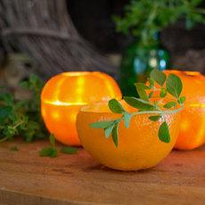 ที่ใส่เทียนไข ทำจากเปลือกส้ม