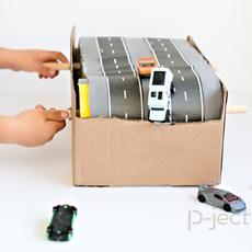 เส้นทางเดินรถของเล่น ทำเองจากกล่อง หมุนได้