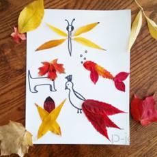 วาดรูปสัตว์ ระบายสีด้วยใบไม้ สีสด