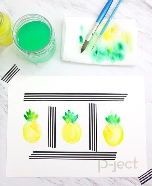 รูป 2 สอนระบายสี สับปะรด ด้วยสีน้ำ