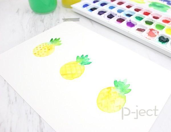 รูป 3 สอนระบายสี สับปะรด ด้วยสีน้ำ