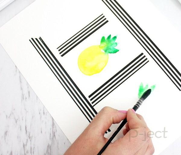รูป 4 สอนระบายสี สับปะรด ด้วยสีน้ำ