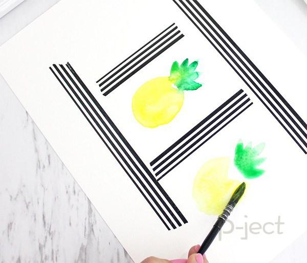 รูป 5 สอนระบายสี สับปะรด ด้วยสีน้ำ