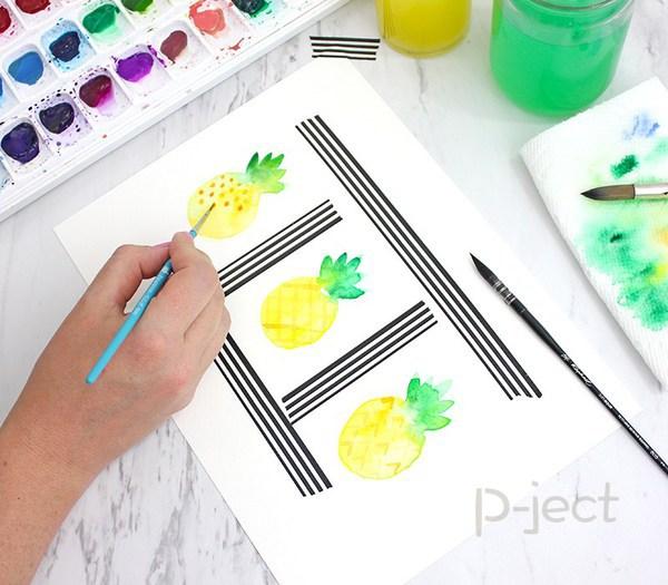 รูป 6 สอนระบายสี สับปะรด ด้วยสีน้ำ