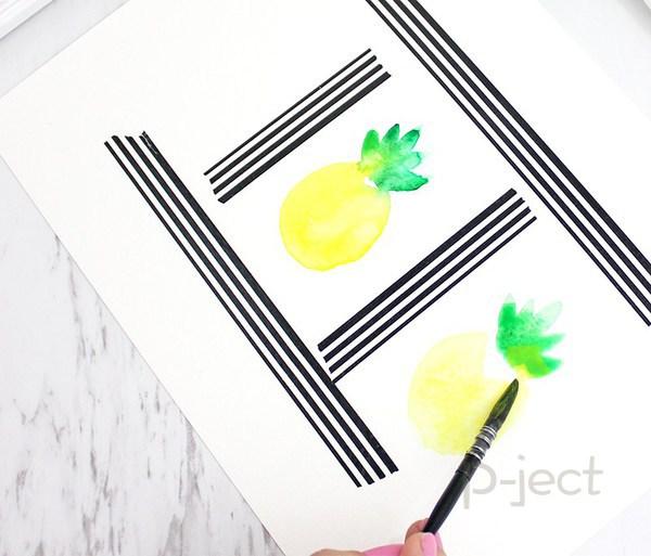 รูป 7 สอนระบายสี สับปะรด ด้วยสีน้ำ