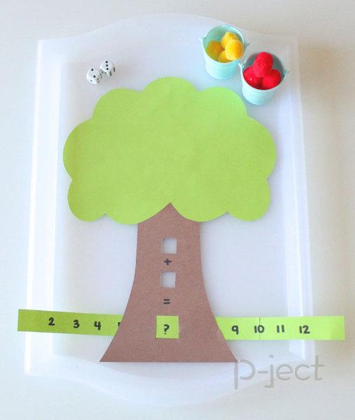 รูป 6 สอนบวกเลขแบบง่ายๆ ทอดลูกเต๋า ติดปอมๆ บนต้นไม้